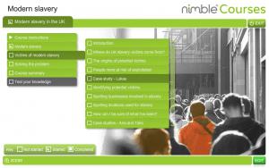 Screenshot of Modern Slavery main menu page