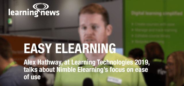 Alex Hathway, Director, Nimble Elearning. Learning Technologies 2019, Learning News interview.